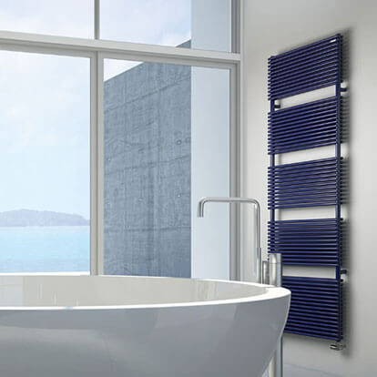MHS tall wall mounted radiator in bathroom